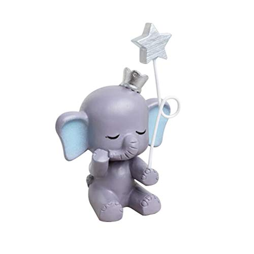 Healifty Resin Cake Figurine Cute Elephant Star Statue Ornament Cake Decoration Ornament ()