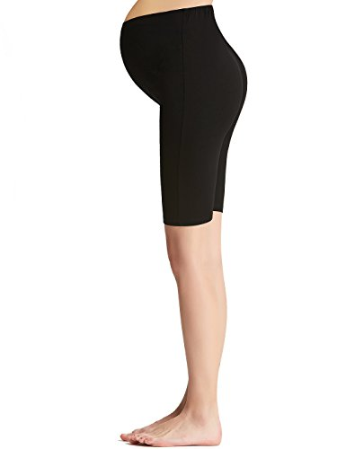 - Liang Rou Maternity Belly Support Mini-Ribbed Stretch Short Leggings Black M