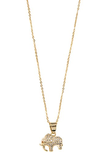 Trendy Fashion Jewelry CZ Stone Pave Elephant Pendant Necklace By Fashion Destination | (Gold) (Insp Plate)