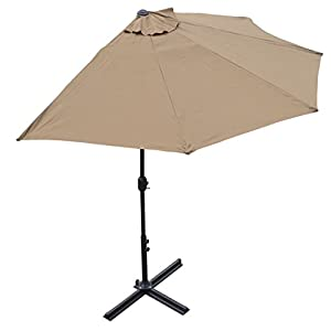 BenefitUSA 10u0027 Patio Half Umbrella Wall Balcony Halfrund Sun Shade Market  Garden Outdoor Parasol With Stand TAN