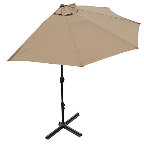 BenefitUSA 10' Patio Half Umbrella Wall Balcony halfrund Sun Shade market Garden Outdoor Parasol with Stand-TAN Parasol Stand