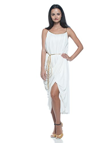 Women's Greek Roman Goddess Gathered Draped Gold Braided Strap Theme Party Dress (Small) (Ancient Roman Dresses)