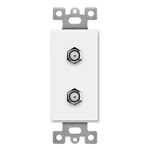 ENERLITES Duplex F-Type Coaxial Connector Wall Jack (Female to Female) Molded-in Voice and Audio/Video, 6506-W, White
