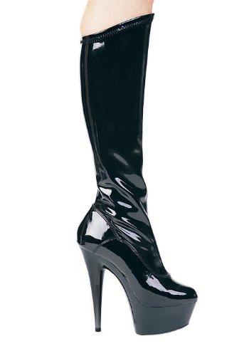 Pointed Boot Zipper 6 Stiletto Black;7 Stretch Knee Women's With Inch q7YAx87E