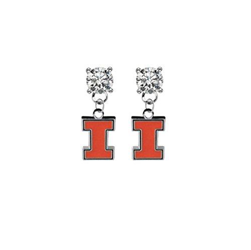 Illinois Fighting Illini Clear Crystal Stud Post Dangle Earrings