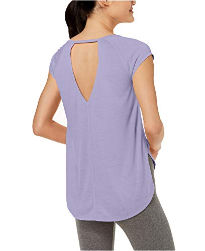 Calvin Klein Performance Women's Cap Sleeve tee with Back Cut Out, Purple rain, X Large