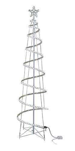 GE 7-ft Motion Spiral Rope Light Tree 306 LED Lights 8 Functions, Pure White
