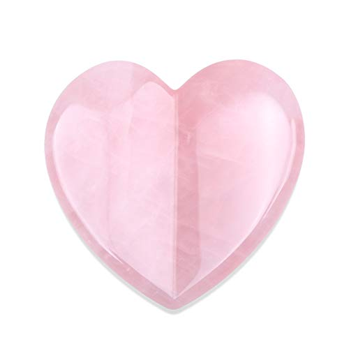 Essential Oil Massage Tool,Rose Quartz Heart Shape (2.95 inches),Gua Sha Tools, Jade Roller Facial Scraping Massager for Face,Eye,Neck- Beauty Roller For Slimming and Firming (Pink Rose Quartz)
