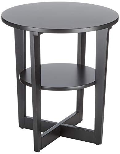 Marca Amazon - Rivet - Mesa de centro redonda con estante, 50 x 50 x 55 cm, negro
