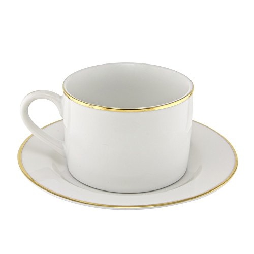 10 Strawberry Street GL00096 Line Can Cup/Saucer, Set of 6, White/Gold
