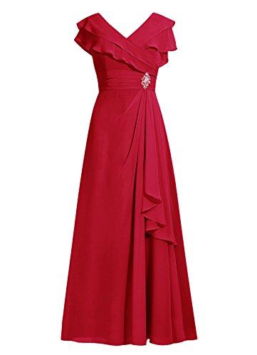 Dresstells Longue Mère En Mousseline De Soie Robe De Demoiselle D'honneur De La Robe Mariée Sress Soir Rouge Foncé