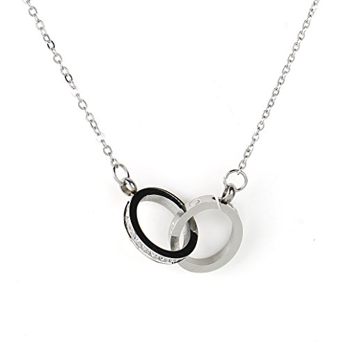 Stylish Silver Tone Designer Necklace and Intertwined Eternity Circular Pendants with Screw Like Design & Swarovski Style Crystals