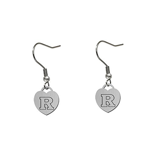 (Rutgers Scarlet Knights Satin Finish Small Stainless Steel Heart Charm Earrings - See Model for Size Reference)