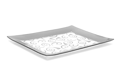 Rectangular Baking Platter - GAC Tempered Glass Tray Rectangular Glass Platter Unbreakable - Chip Resistant - Oven Safe - Microwave Safe - Dishwasher Safe - Stackable Decorative Plate and Glass Serving Tray Silver