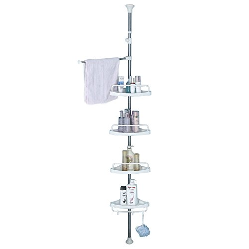 JoYo Tension Corner Shower Caddy, Adjustable Height Pole, Rustproof Stainless Steel, Ivory -