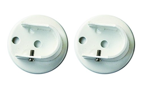 Urbanest Set of 2 Inside Mount Brackets for 1 1/8-inch to 1 1/4-inch Curtain Rods, Glossy White