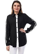قميص قطن لونين بازرار امامية واطراف دائرية للنساء من اندورا