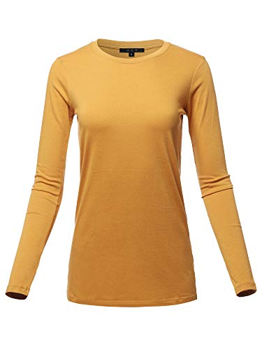 Basic Solid Soft Cotton Long Sleeve Crew Neck Top Shirts Ash Mustard XL