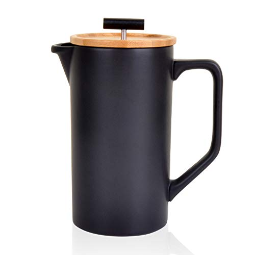 Ceramic French Press Coffee Maker/Coffee Plunger/Coffee Press (Large, 24 oz.) | Non-Porous Stoneware | (Black, French Press)