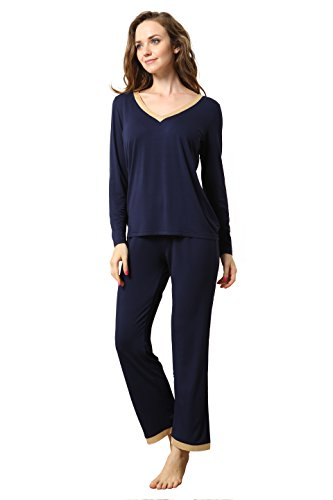 GYS Women's Bamboo Lounge Wear Long Sleeve V-Neck Pajama Set with Pj Long Pants Comfort Fit Navy Blue (S=US(0-2), Navy Blue)