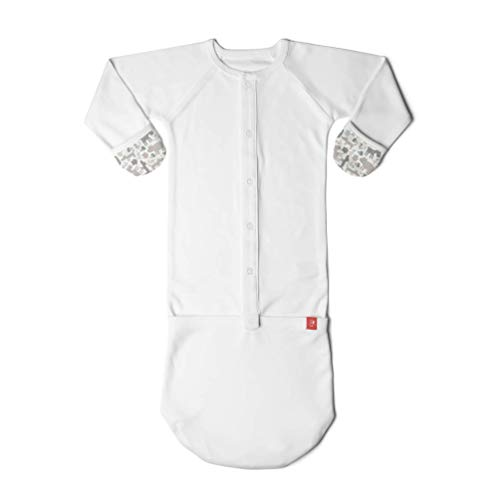 Goumikids Goumijamms Organic Smart Baby Gown, With No Scratch Mitts and Foot Pockets With Easy Diaper Change,Gray,3-6 Months