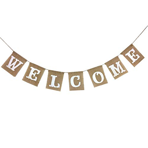 (KatchOn Welcome Banner Sign, Real Burlap - No DIY Required | Great for Back to School, Wedding, Bridal Shower, Baby Shower Decorations, Classroom, Homecoming, Reunion | Home Welcome Party | Large)