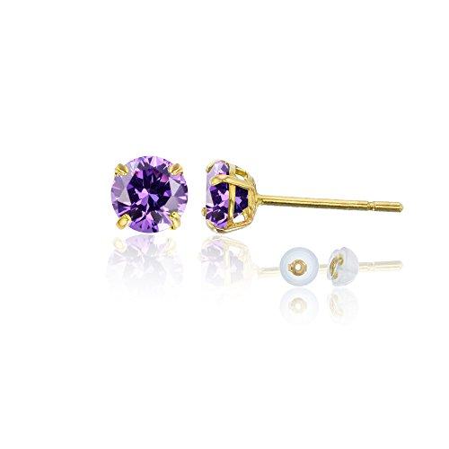Amethyst Gold Jewelry Set - 14K Yellow Gold 4mm Round Amethyst Stud Earring