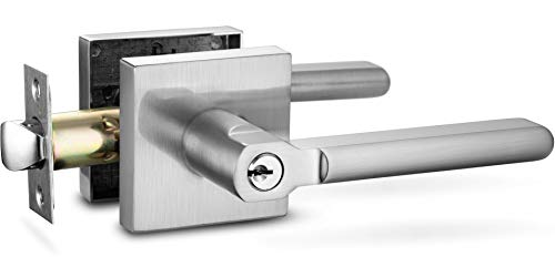 Berlin Modisch Entry Lever Door Handle Lock and Key Slim Square Locking Lever Set [for Front Door or Office] Reversible for Right & Left Sided Doors Heavy Duty – Satin Nickel Finish by Berlin Modisch (Image #3)