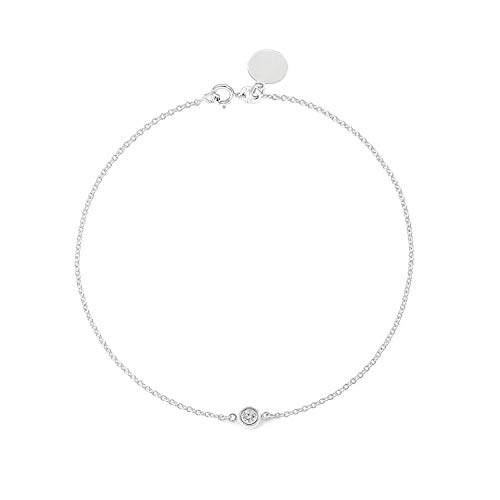 TousiAttar Solitaire Diamond Bracelet - Solid White Gold-14K or 18K - Dainty and Simple Solitaire Bezel Set - Free Engraving - Graceful Gift- Minimalist ()