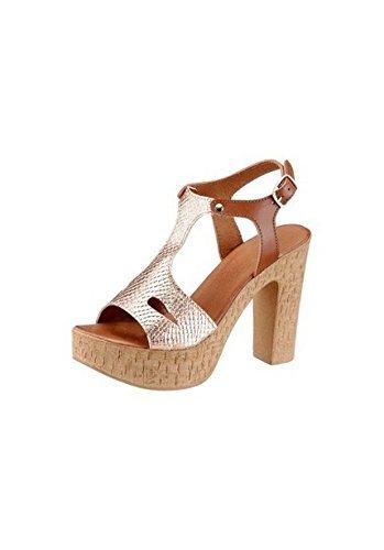 Laura Scott High Heel Sandalette Damen Aus Leder von Bronzefarben