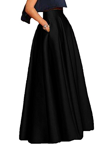 Floor Length Black Skirt (Honey Qiao Women's Satin Long Floor Length High Waist Prom Party Skirts)
