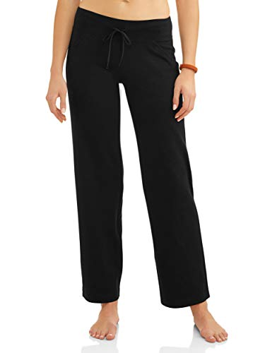 Sweatpants Blend Cotton (Athletic Works Women's Relaxed Fit Dri-More Core Cotton Blend Yoga Pants, Black, L Petite)