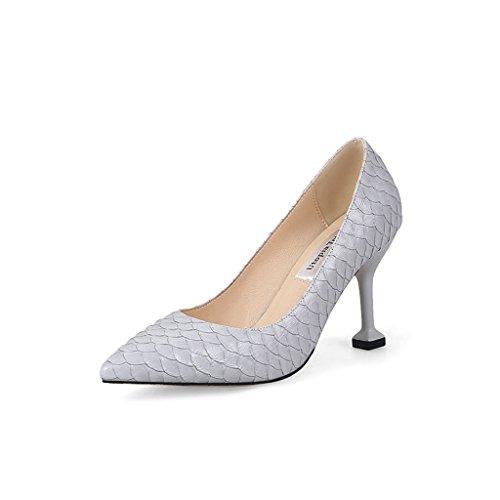 ALUK- Damenschuhe / spitz / High Heels / fein mit / elegante Karriere / Schuhe / Brautjungfer Hochzeitsschuhe ( Farbe : Grau , größe : 36-Shoes long230mm ) Grau