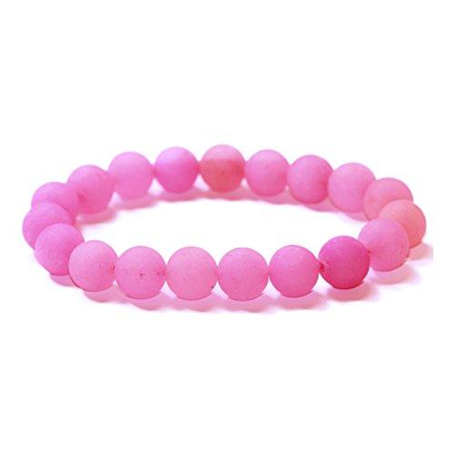 Lovelybead Gemstone Bracelets Natural Genuine Gemstones Birthstone Handmade Healing Power Crystal Beads Elastic Stretch 8mm 7.5 Inch Unisex (Fuchsia Matte Agate)