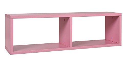 Kinderzimmer - Hängeregal/Wandregal Luis 10, Farbe: Rosa - 24 x 80 x 20 cm (H x B x T)