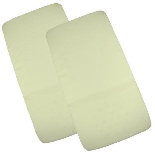 BabyPrem Nursery Pk of 2 Fitted Cotton Cradle Stroller Sheets 17 x 33 x 2 Cream