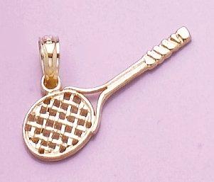 14k Yellow Gold Sports Charm Pendant Tennis Racquet Cut-out High Polish & Engraved ()