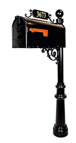 Addresses of Distinction Avenues Standard Mailbox & Post – Black Rust Resistant Metal Mailbox System – Includes Address Plaque, Numbers & Mounting Hardware - Powder Coated Aluminum Base - Ball Finial (Standard Cast Aluminum Mailbox Post)