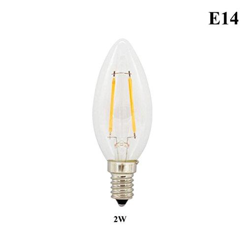 Inverlee E14/E27 Warm White LED Filament Bulb Globe Candle Lights 2-8W Lamp 220V Home Festival Decoration (A)