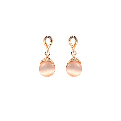 (Deezire Jewels Push Back Rose Gold Vermeil Pink Pearl Stud Earrings by Fashion Jewelry For Women )