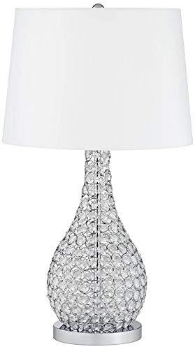 Kasey Modern Table Lamp Crystal Beaded Silver Gourd White Drum Shade for Living Family Room Bedroom Bedside – Possini Euro Design