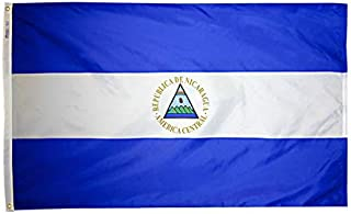 product image for Annin Flagmakers Model 196239 Nicaragua Flag Nylon SolarGuard NYL-Glo, 5x8 ft, 100% Made in USA to Official United Nations Design Specifications