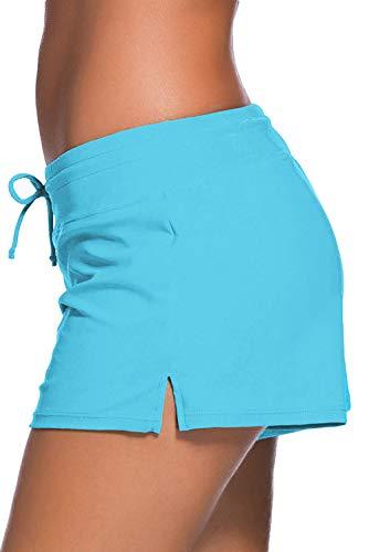 Women Sports Summer Bottom Slit Swim Beach Board Shorts(Turquoise,Large)