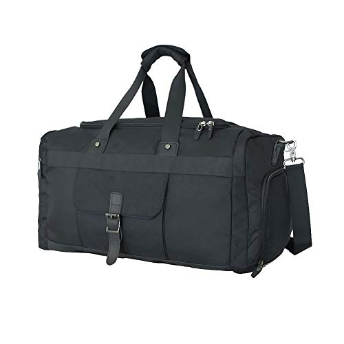 Waterproof Gym Bag Large Sports Travel Duffel Bag,Weekender Overnight Bag for Men and Women with Shoes Compartment 40L - Black