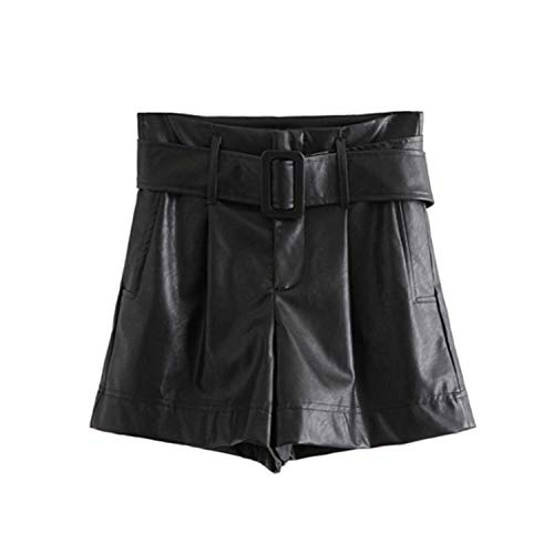(victoriasong Women Black PU Leather Shorts Bow tie Belt Pockets high Waist Zipper Fly Ladies Casual Shorts,Black,XS)