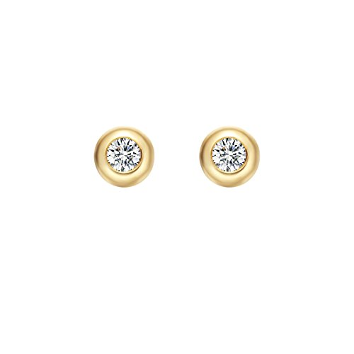 Carleen Solid 18K Yellow Gold Solitaire Round 0.10cttw Diamond Stud Earrings for Women Girls, Diameter 3.8mm