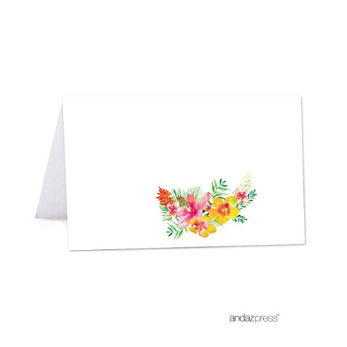 Tropical Flat Card - Andaz Press Tropical Floral Garden Party Wedding Collection, Printable Table Tent Place Cards, 20-Pack