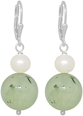 ERCE perlas de agua dulce - prehnita piedra semipreciosa pendientes, plata de ley 925