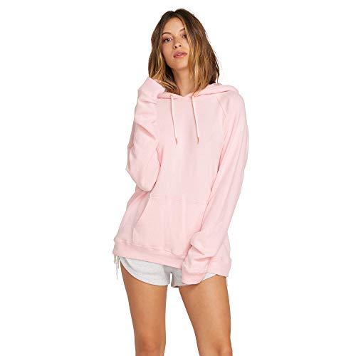 Volcom Junior's Junior's Womens Pullover Lil Hooded Fleece Blush Pink ()