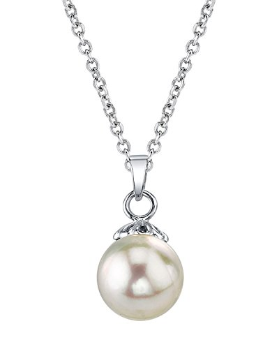 Akoya White Pendant - 14K Gold 8-8.5mm Round White Akoya Cultured Pearl Sydney Pendant Necklace for Women